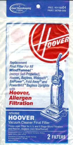 Hoover Allergen Final Filter 40110004 4 Filters